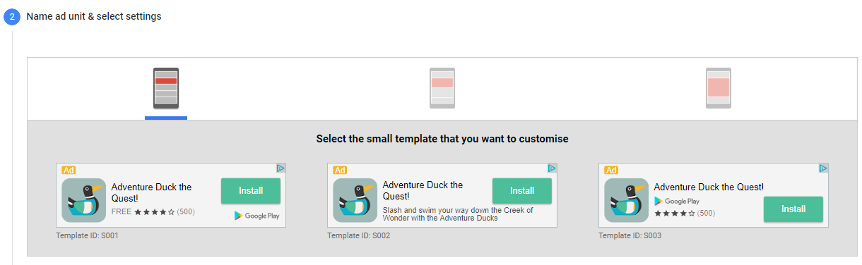 AdMob Native Ad Small Size Templates