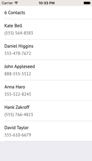 Get Contacts List iOS