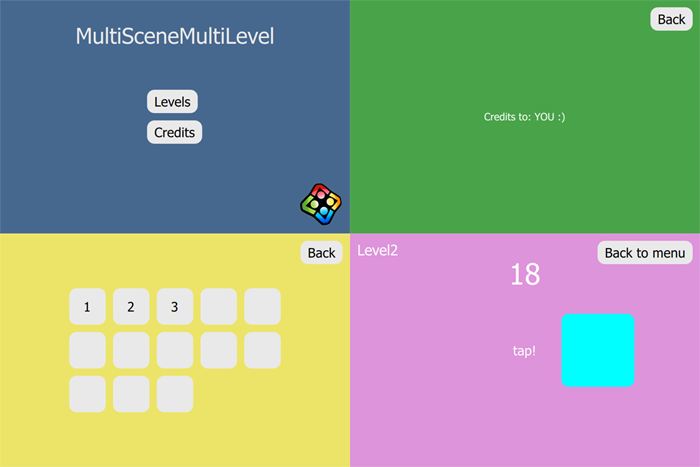 How to create mobile games with multiple scenes and multiple