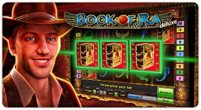 """A typical Book of Ra game with the researcher and the book symbols on the slot machine."""