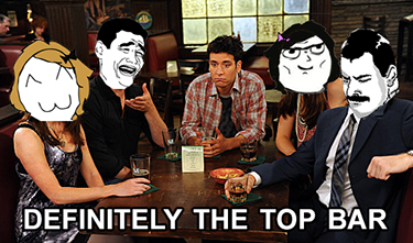"""How I met your mother reference, a meme with HIMYM characters at their top bar."""