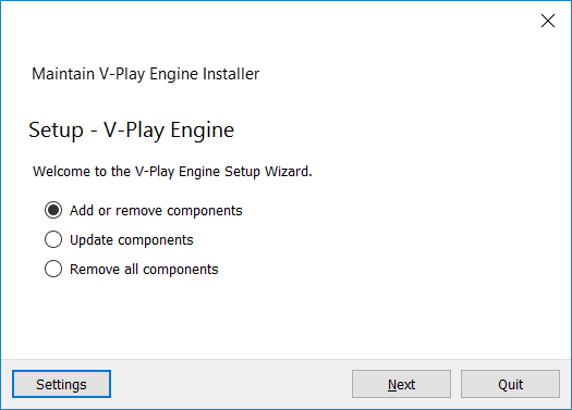 V-Play Installer Windows Add Components