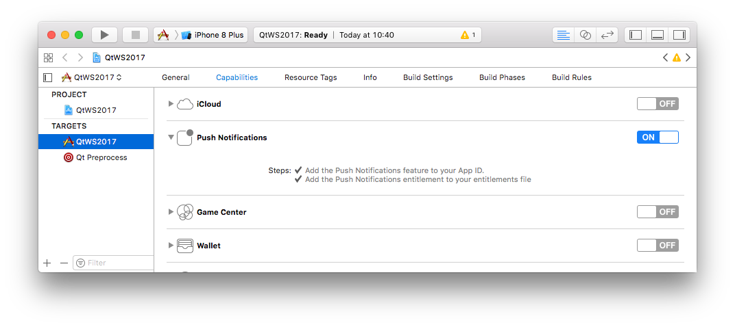 XCode Push Entitlement Settings
