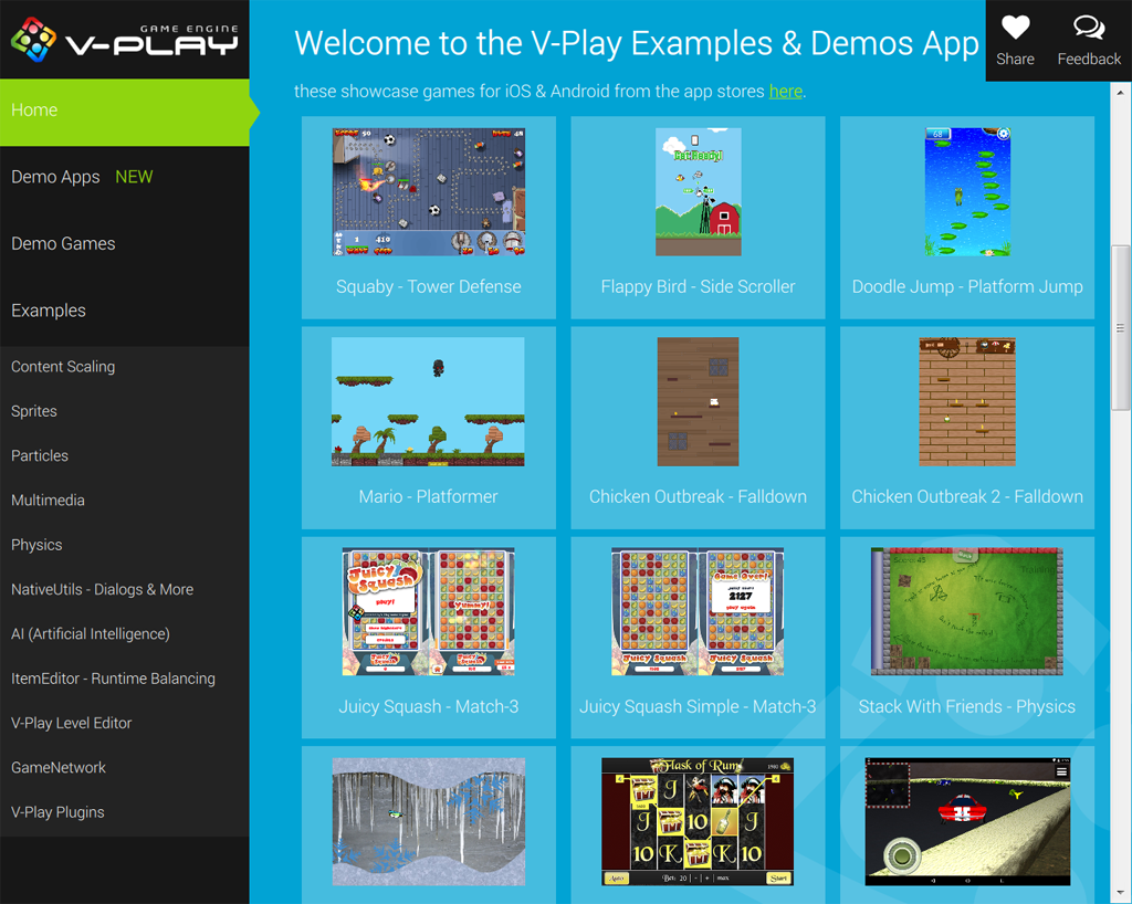 V-Play Sample Launcher - Play & Test all V-Play Sample Games from one application