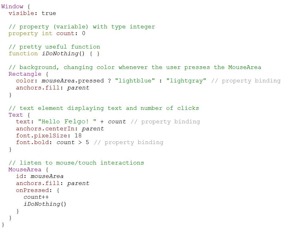 Felgo simulator code example