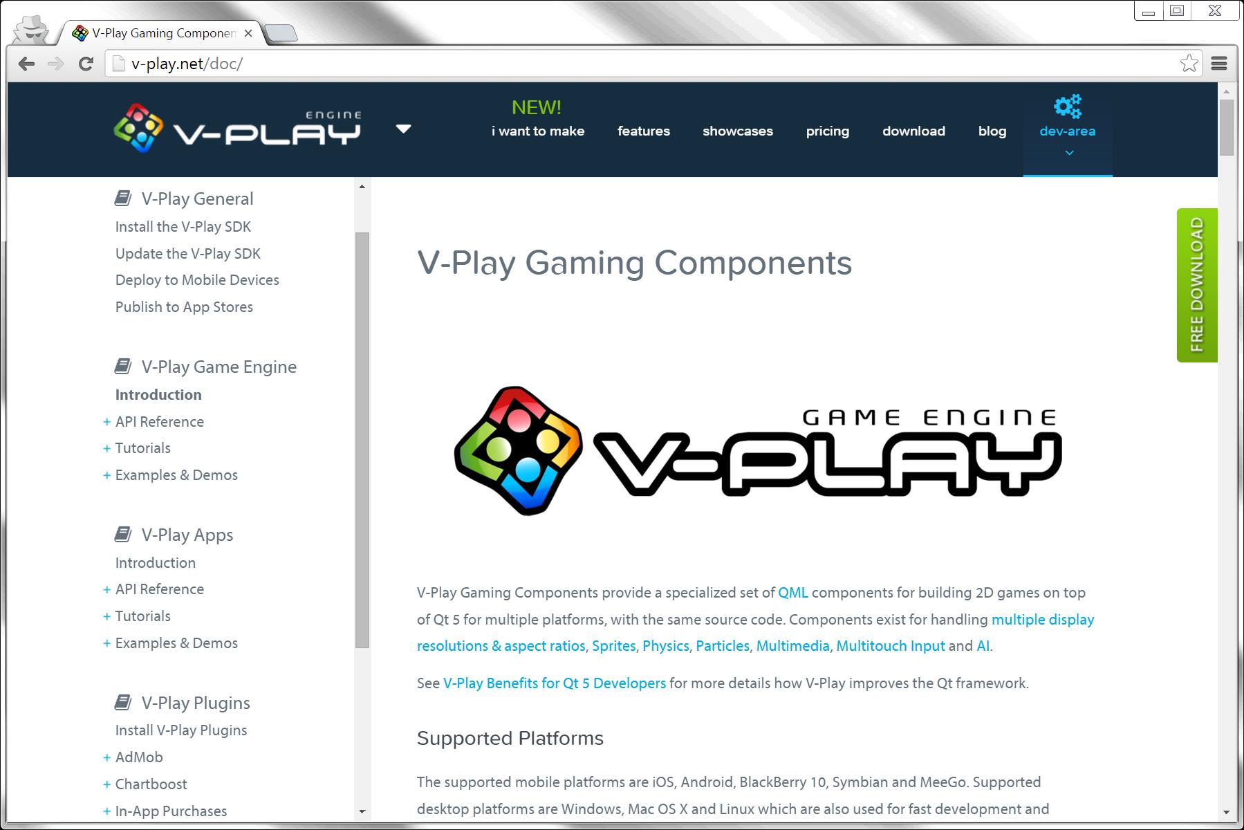 V-Play Documentation Navigation