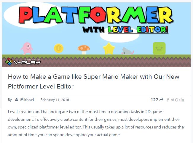 Platform Level Editor Screen Capture