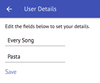 The final userDetailPage allows to enter your favorite song and food.