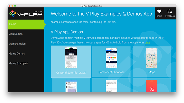 V-Play Sample Launcher with Qt World Summit Demo