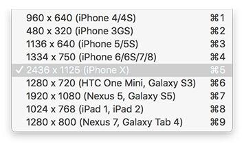 Resolution Menu iPhone X Simulation