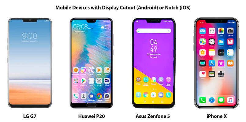 Devices with Edge-to-Edge Screens and a Notch or Display Cutout
