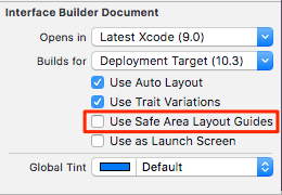 """Use Safe Area Layout Guide"" setting for Xcode storyboards."