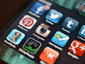 social media icons on a mobile screen