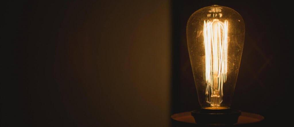 Light bulb in dark room