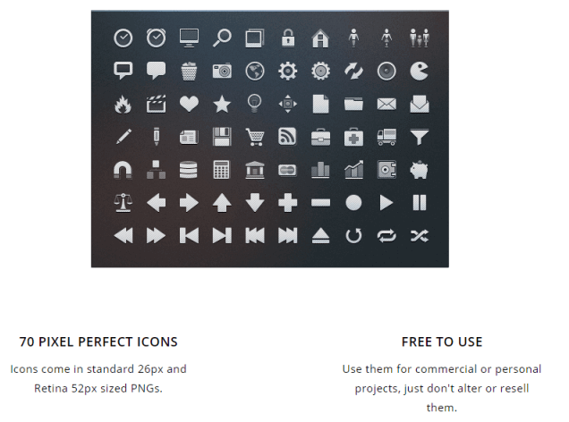 70 royalty-free mobile app and Web icons from App-bits