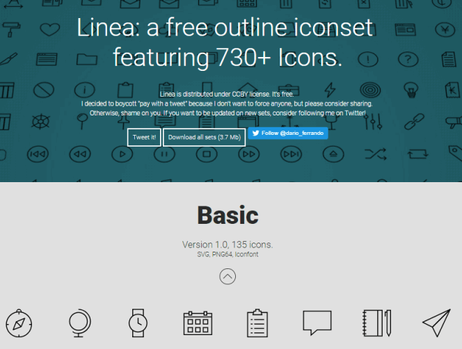 730+ free mobile app icons from Linea
